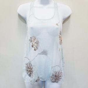 Free People Dandelion Flower Sheer Sequin Tank